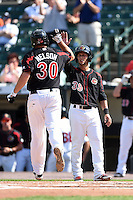 Rochester Red Wings outfielder Daniel Ortiz (39) high fives Brad Nelson (30) after a home run during the first game of a doubleheader against the Buffalo Bisons on July 6, 2014 at Frontier Field in Rochester, New  York.  Rochester defeated Buffalo 6-1.  (Mike Janes/Four Seam Images)