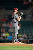 Lehigh Valley IronPigs relief pitcher Tyler Gilbert (12) looks in for the sign during a game against the Rochester Red Wings on June 30, 2018 at Frontier Field in Rochester, New York.  Lehigh Valley defeated Rochester 6-2.  (Mike Janes/Four Seam Images)
