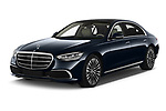 2021 Mercedes Benz S-Class S-350 4 Door Sedan Angular Front automotive stock photos of front three quarter view