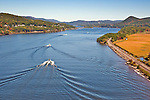 Speedboats on the Hudson River, viewed from near mid-span on the Bear Mountain Bridge
