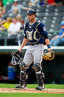 Durham Bulls catcher Chris Giminez (16) on defense against the Charlotte Knights at Knights Stadium on August 18, 2013 in Fort Mill, South Carolina.  The Bulls defeated the Knights 8-5 in Game One of a double-header.  (Brian Westerholt/Four Seam Images)