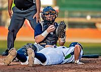 12 June 2021: Westfield Starfires catcher Jackson Petersen, from Libertyville, IL, gets Vermont Lake Monsters infielder Brian Hadden, from Newburyport, MA, out at the plate in the 6th inning at Centennial Field in Burlington, Vermont. The Lake Monsters defeated the Starfires 4-1 at Centennial Field, in Burlington, Vermont. Mandatory Credit: Ed Wolfstein Photo *** RAW (NEF) Image File Available ***