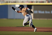 Luisangel Acuna (2) of the Down East Wood Ducks takes off for second base against the Kannapolis Cannon Ballers at Atrium Health Ballpark on May 8, 2021 in Kannapolis, North Carolina. (Brian Westerholt/Four Seam Images)