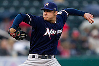 Chris Dwyer (28) of the Northwest Arkansas Naturals delivers a pitch during a game against the Springfield Cardinals on May 13, 2011 at Hammons Field in Springfield, Missouri.  Photo By David Welker/Four Seam Images.