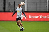 14th September 2021: The  AXA Trining Centre, Kirkby, Knowsley, Merseyside, England: Liverpool FC training ahead of Champions League game versus AC Milan on 15th September: Joel Matip of Liverpool receives a pass