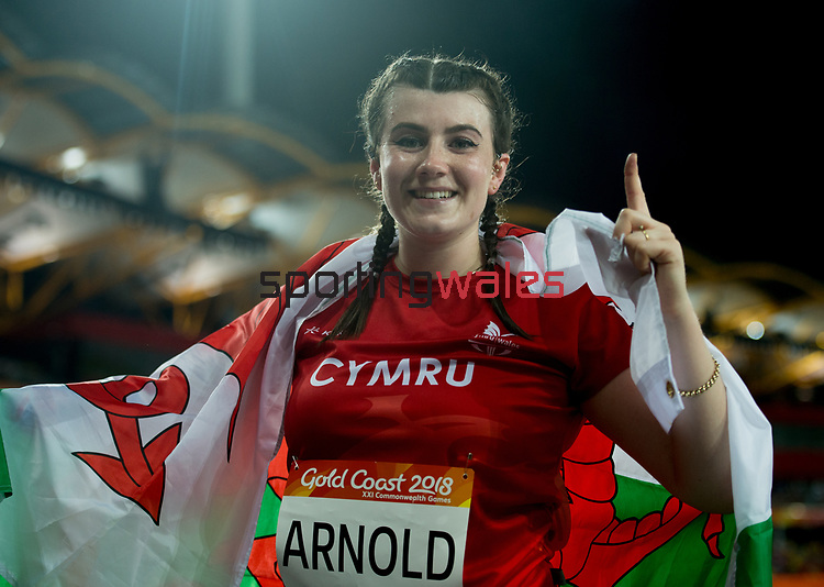 Wales Hollie Arnold (para) celebrates winning Gold in the  Womans F46 Javelin Throw<br /> <br /> *This image must be credited to Ian Cook Sportingwales and can only be used in conjunction with this event only*<br /> <br /> 21st Commonwealth Games  -  Day 5 - 09\04\2018 - Carrara Stadium - Gold Coast City - Australia