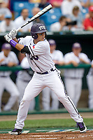 TCU's 2B Jerome Pena against Florida State in Game 1 of the NCAA Division One Men's College World Series on Saturday June 19th, 2010 at Johnny Rosenblatt Stadium in Omaha, Nebraska.  (Photo by Andrew Woolley / Four Seam Images)