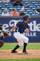 Wilmington Blue Rocks left fielder Anderson Miller (24) at bat during the second game of a doubleheader against the Frederick Keys on May 14, 2017 at Daniel S. Frawley Stadium in Wilmington, Delaware.  Wilmington defeated Frederick 3-1.  (Mike Janes/Four Seam Images)