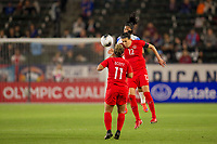 CARSON, CA - FEBRUARY 07: Christine Sinclair #12 of Canada with a head shot during a game between Canada and Costa Rica at Dignity Health Sports Complex on February 07, 2020 in Carson, California.