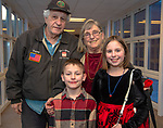 BETHLEHEM,  CT-021419JS19- Gus and Debbie Cuccia of Bethlehem with their grand-children Francis Cuccia, 5, and Tess Cuccia, 10, at the third annual Valentines Day grandparents dinner at Bethlehem Elementary School. The event was hosted by the Bethlehem Elementary School PTO. <br />  Jim Shannon Republican American
