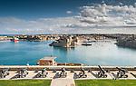 Cannons overlooking the harbour in Valletta, Malta