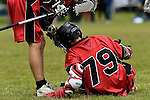 GER - Hannover, Germany, May 30: During the Men Lacrosse Playoffs 2015 match between HTHC Hamburg (black) and DHC Hannover (red) on May 30, 2015 at Deutscher Hockey-Club Hannover e.V. in Hannover, Germany. Final score 17:2. (Photo by Dirk Markgraf / www.265-images.com) *** Local caption *** Hendrik Kaessmeyer #79 of DHC Hannover
