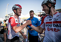 teammates Tiesj Benoot (BEL/Lotto-Soudal) & Jens Keukeleire (BEL/Lotto-Soudal) celebrating Caleb Ewan (AUS/Lotto-Soudal) stage win at the finish line in Nîmes<br /> <br /> Stage 16: Nîmes to Nîmes (177km)<br /> 106th Tour de France 2019 (2.UWT)<br /> <br /> ©kramon