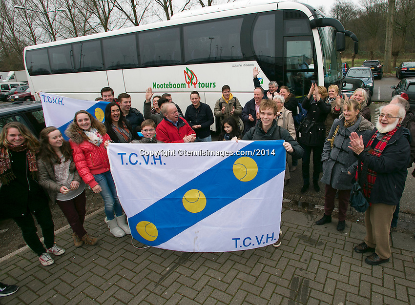 19-01-14,Netherlands, Rotterdam,  TC Victoria, Wildcard Tournament, ,   Final,  Bus with supporters arrive<br /> Photo: Henk Koster