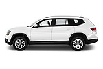 Car driver side profile view of a 2019 Volkswagen Atlas SE 5 Door SUV