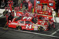Feb 07, 2009; Daytona Beach, FL, USA; NASCAR Sprint Cup Series driver Tony Stewart pits during the Bud Shootout at Daytona International Speedway. Mandatory Credit: Mark J. Rebilas-