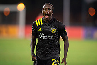 LAKE BUENA VISTA, FL - JULY 16: Derrick Etienne #22 of the Columbus Crew SC screams during a game between New York Red Bulls and Columbus Crew at Wide World of Sports on July 16, 2020 in Lake Buena Vista, Florida.