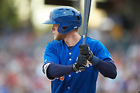 Jeremy Hazelbaker (23) of the Durham Bulls at bat against the Charlotte Knights at BB&T BallPark on July 4, 2018 in Charlotte, North Carolina. The Knights defeated the Bulls 4-2.  (Brian Westerholt/Four Seam Images)