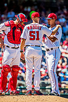 9 July 2017: Washington Nationals pitching coach Mike Maddux chats with starting pitcher Joe Ross to evaluate a possible injury in the 4th inning against the Atlanta Braves at Nationals Park in Washington, DC. The Nationals defeated the Atlanta Braves to split their 4-game series going into the All-Star break. Mandatory Credit: Ed Wolfstein Photo *** RAW (NEF) Image File Available ***