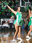 North Texas Mean Green cheerleaders in action during the game between the Louisiana Lafayette Ragin' Cajuns and the University of North Texas Mean Green at the North Texas Coliseum,the Super Pit, in Denton, Texas. UNT defeats Louisiana Lafayette 78 to 40...