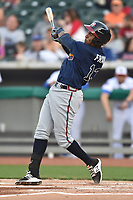 Mississippi Braves first baseman Carlos Franco (13) swings at a pitch during a game against the Tennessee Smokies at Smokies Stadium on April 12, 2017 in Kodak, Tennessee. The Braves defeated the Smokies 6-2. (Tony Farlow/Four Seam Images)