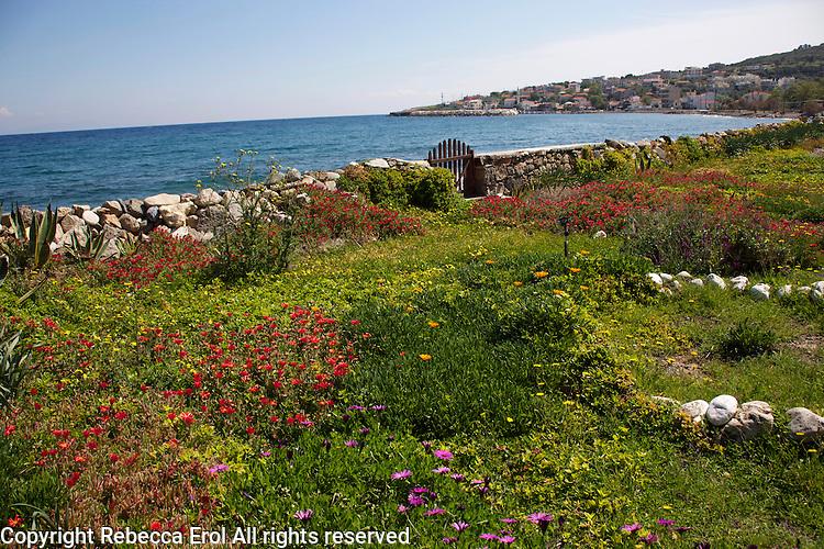 Karaburun Peninsula, western Turkey on the Aegean coast. The town of Karaburun is in the background