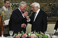 Pictured: Prince Charles and Greek President Prokopis Pavlopoulos during the official state dinner at the Presidential Mansion in Athens, Greece. Wednesday 09 May 2018 <br /> Re: Official visit of HRH Prnce Charles and his wife the Duchess of Cornwall to Athens, Greece.