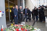 """Trauerbekundungen vor der franzoesischen Botschaft in Berlin anlaesslich der Ermordung von Redakteuren der Satierezeitschrift """"Charlie Hebdo"""" am 7. Januar 2015 in Paris.<br /> Bei einem Anschlag mit vorgeblich religioesen Motiven wurden zehn Mitarbeiter und Redakteure und zwei Polizisten durch Terroristen erschossen. Die Satierezeitschrift Charlie Hebdo war in der Vergangenheit mehrfach Ziel muslimischen Protesten, so wurden nach der Veroeffentlichung der """"Mohamed-Karrikaturen"""" das Redaktionsgebaeude am 2. November 2011 durch einen Brandanschlag zerstoert.<br /> Berlinerinnen und Berliner haben vor der Botschaft Blumen und Schilder mit der Aufschrift """"Je suis Charlie"""" (Ich bin Charlie), niedergelegt.<br /> Im Bild: Bundesaussenminister Frank Walter Steinmeier (2.vl.) trug sich in der Botschaft in das Kondolenzbuch ein und gab danach ein kurzes Interview an wartende Journalisten. Links der franzoesische Botschafter Philippe Etienne.<br /> 8.1.2015, Berlin<br /> Copyright: Christian-Ditsch.de<br /> [Inhaltsveraendernde Manipulation des Fotos nur nach ausdruecklicher Genehmigung des Fotografen. Vereinbarungen ueber Abtretung von Persoenlichkeitsrechten/Model Release der abgebildeten Person/Personen liegen nicht vor. NO MODEL RELEASE! Nur fuer Redaktionelle Zwecke. Don't publish without copyright Christian-Ditsch.de, Veroeffentlichung nur mit Fotografennennung, sowie gegen Honorar, MwSt. und Beleg. Konto: I N G - D i B a, IBAN DE58500105175400192269, BIC INGDDEFFXXX, Kontakt: post@christian-ditsch.de<br /> Bei der Bearbeitung der Dateiinformationen darf die Urheberkennzeichnung in den EXIF- und  IPTC-Daten nicht entfernt werden, diese sind in digitalen Medien nach §95c UrhG rechtlich geschuetzt. Der Urhebervermerk wird gemaess §13 UrhG verlangt.]"""
