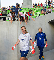AUSTIN, TX - JUNE 16: Alyssa Naeher #1 and Jane Campbell #18 of the USWNT enter the field before a game between Nigeria and USWNT at Q2 Stadium on June 16, 2021 in Austin, Texas.