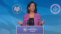 """United States Secretary of Commerce-designate Governor Gina Raimondo (Democrat of Rhode Island) makes remarks after being introduced by US President-elect Joe Biden following his remarks introducing """"key members of his economic and jobs team"""" from the Queen Theatre in Wilmington, Delaware on Friday, January 8, 2021. <br /> Credit: Biden Transition TV via CNP /MediaPunch<br /> CAP/MPI/RS<br /> ©RS/MPI/Capital Pictures"""