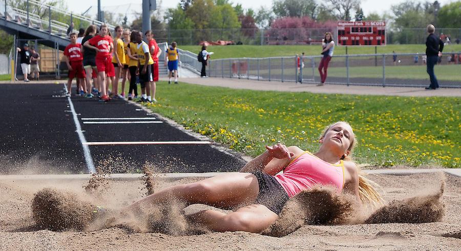 Highland Park jr. long and triple jumper Meagan Blair. Photo by Brad Stauffer