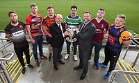 Monday 11th November 2019<br /> <br /> Pictured L-R are Carrickfergus RFC Captain Johnny Sheriff, City of Armagh RFC 2s Captain John Faloon, Ballyclare RFC Captain Dave Clarke, Greg Irwin representing the Ulster Branch, Grosvenor RFC Captain Andrew Kelly, Jan Cunningham representing MMW Legal, Enniskillen RFC Captain Gareth Beatty and Instonians RFC vice-captain David Scott at the draw for the Semi-Final of this seasons MMW Legal Ulster Junior Cup which was held at Kingspan Stadium, Ravenhill Park, Belfast, Northern Ireland. Photo credit - John Dickson DICKSONDIGITAL