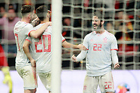 Spain's Saul Niguez, Marco Asensio and Isco Alarcon celebrate goal during international friendly match. March 27,2018.(ALTERPHOTOS/Acero) /NortePhoto.com NORTEPHOTOMEXICO