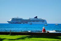 NCL Pride of Aloha cruise ship, Kona Inn shopping village, Kailua Kona, The Big Island of Hawaii