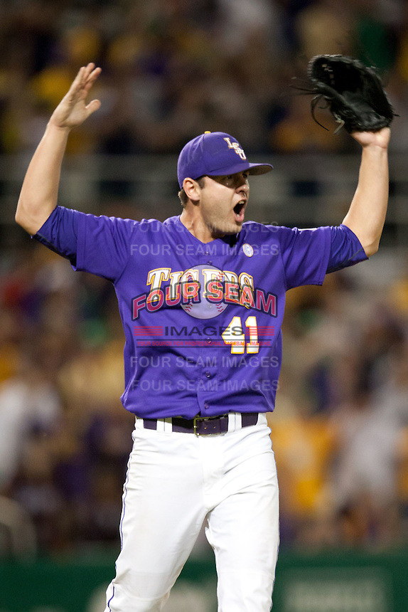 LSU Tigers pitcher Nick Goody #41 celebrates recording the final out against the Mississippi State Bulldogs in the NCAA baseball game on March 17, 2012 at Alex Box Stadium in Baton Rouge, Louisiana. The 10th-ranked LSU Tigers beat #21 Mississippi State, 4-3. (Andrew Woolley / Four Seam Images)