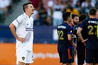 CARSON, CA - JUNE 19: Sacha Kljestan #16 of the Los Angeles Galaxy prepares for a PK during a game between Seattle Sounders FC and Los Angeles Galaxy at Dignity Health Sports Park on June 19, 2021 in Carson, California.