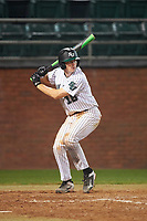 Stetson Hatters catcher Austin Hale (18) at bat during a game against the Siena Saints on February 23, 2016 at Melching Field at Conrad Park in DeLand, Florida.  Stetson defeated Siena 5-3.  (Mike Janes/Four Seam Images)