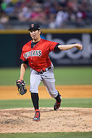 Indianapolis Indians relief pitcher Bobby LaFromboise (39) in action against the Charlotte Knights at BB&T BallPark on June 20, 2015 in Charlotte, North Carolina.  The Knights defeated the Indians 6-5 in 12 innings.  (Brian Westerholt/Four Seam Images)