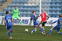 Nicky Law scores Exeter's opening goal during Gillingham vs Exeter City, Emirates FA Cup Football at the MEMS Priestfield Stadium on 28th November 2020