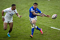 13th February 2021; Twickenham, London, England; International Rugby, Six Nations, England versus Italy; Danilo Fischetti of Italy passes the ball under pressure