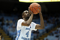 CHAPEL HILL, NC - NOVEMBER 01: Brandon Robinson #4 of the University of North Carolina takes a free throw during a game between Winston-Salem State University and University of North Carolina at Dean E. Smith Center on November 01, 2019 in Chapel Hill, North Carolina.