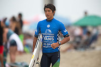 Huntington Beach, CA - Saturday August 05, 2017: Kanoa Igarashi during a World Surf League (WSL) Qualifying Series (QS) fifth round heat in the 2017 Vans US Open of Surfing on the South side of the Huntington Beach pier.