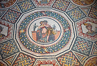 Close up detail picture of the Roman mosaics of the Cubilcle with Erotic Scene, a geometric mosiac with an erotic scene at its center, room no 48 at the Villa Romana del Casale, first quarter of the 4th century AD. Sicily, Italy. A UNESCO World Heritage Site.