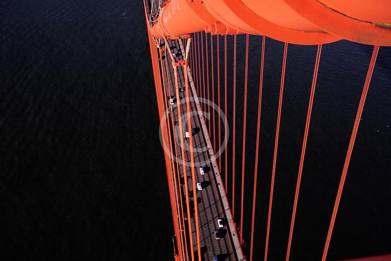 California, San Francisco, Golden Gate Bridge from South tower