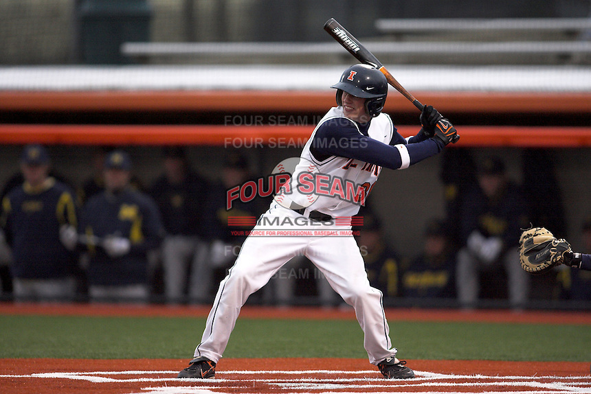 April 11, 2008:  University of Illinois Fighting Illini starting outfielder Kyle Hudson (30) against the University of Michigan Wolverines at Illinois Field in Champaign, IL.  Photo by:  Chris Proctor/Four Seam Images