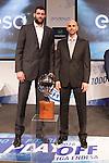 Ioannis Bourousis and Alberto Oliver during presentation of the Liga Endesa playoff. May 23,2016. (ALTERPHOTOS/Rodrigo Jimenez)