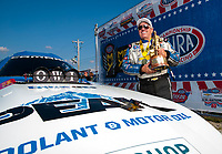 Sep 2, 2019; Clermont, IN, USA; NHRA funny car driver John Force poses for portrait as he celebrates after winning the US Nationals at Lucas Oil Raceway. Mandatory Credit: Mark J. Rebilas-USA TODAY Sports