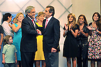 Chile elect president   Sebastian Pinera,  receives the congratulations of ruling party candidate Eduardo Frei in a hotel of dowtown Santiago de Chile.  Pinera, a right wing billionaire, won the runoff against Chile ruling coalition candidate Eduardo Frei.