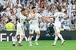 Real Madrid Dani Ceballos, Marco Asensio and Luka Modric celebraitng a goal during La Liga match between Real Madrid and RCD Espanyol at Santiago Bernabeu Stadium in Madrid, Spain. September 22, 2018. (ALTERPHOTOS/Borja B.Hojas)