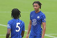 Bashir Humphreys of Chelsea U19's speaks to Chelsea No 5, Silko-Amari Thomas during Chelsea Under-19 vs FC Zenit Under-19, UEFA Youth League Football at Cobham Training Ground on 14th September 2021